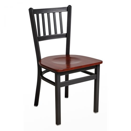 black steel chair with slat back and wood seat