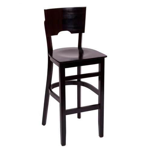 barstool with wood seat and features that allow easy transportation