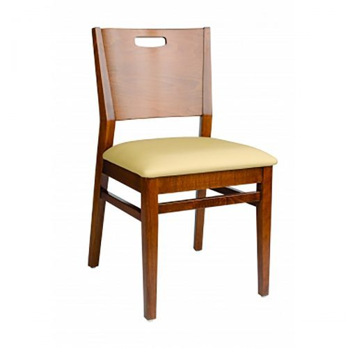 modern chair with upholstered seat, hand cut out and curved back