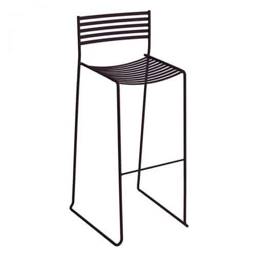 aero barstool with iron frame and steel slats