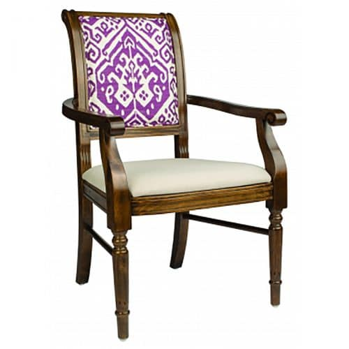 wood arm chair with upholstery