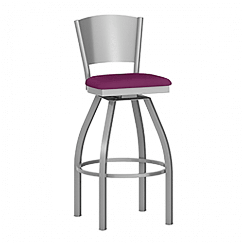 metal swivel barstool with raised back and upholstery