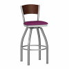 metal swivel barstool with wood back and upholstery