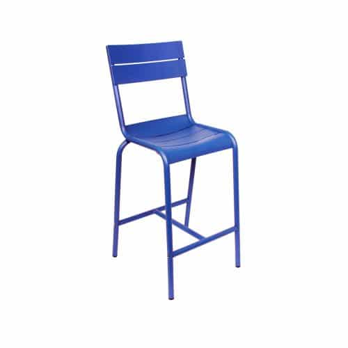 blue outdoor barstool with raised back