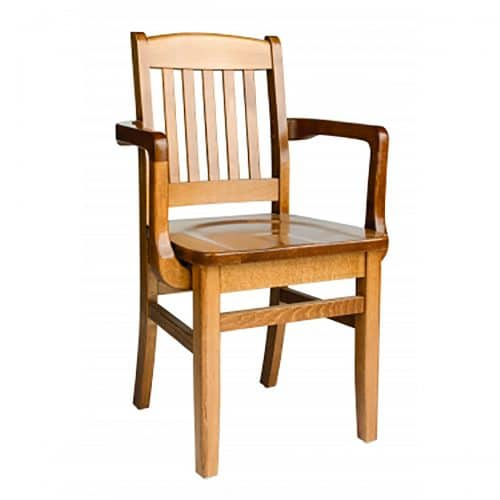 wood arm chair with wood seat