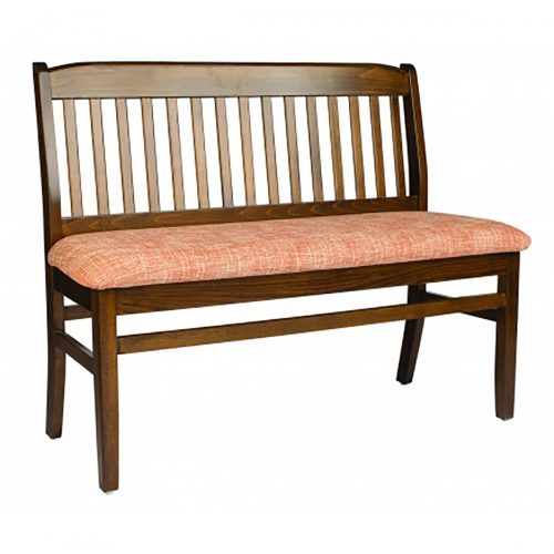 wooden bench with upholstered seat and back