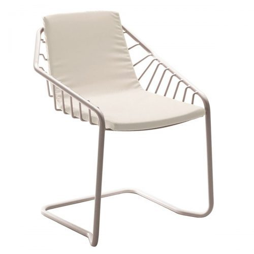Wrought iron and steel frame arm chair