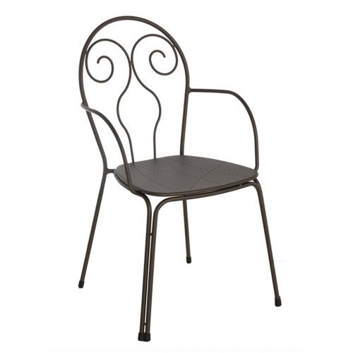 Caprera arm chair with steel frame and wrough iron back design