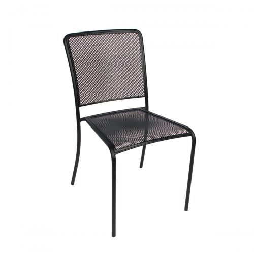 black mesh outdoor stacking side chair
