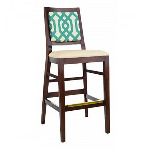 barstool with wood finish upholstered seat and back