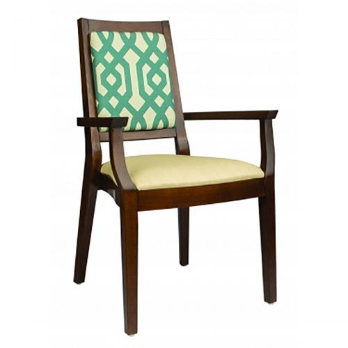 stackable arm chair with upholstered seat and back