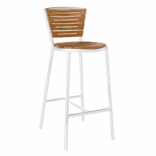 aluminum frame barstool with teak slat back and seat