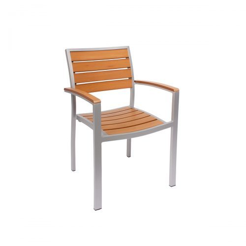 outdoor arm chair with silver finish and synthetic teak