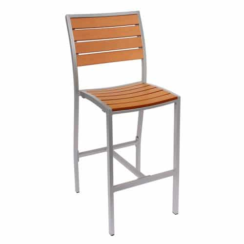 outdoor barstool with silver finish and synthetic teak