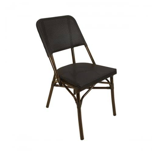 black weave outdoor side chair with brown frame