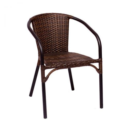 outdoor brown weave side chair with black frame