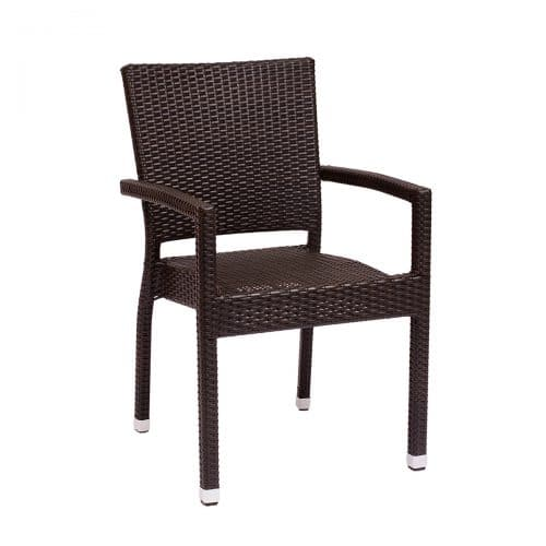 brown weave outdoor arm chair
