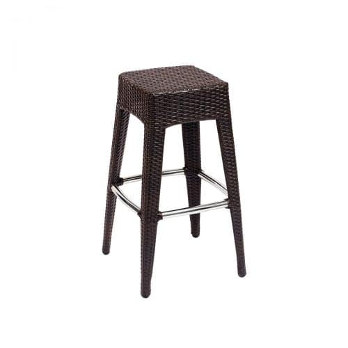 brown weave backless barstool outdoor
