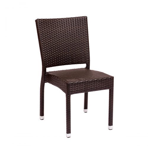 brown weave outdoor side chair