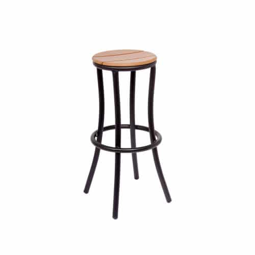 outdoor backless barstool with black powder coat and synthetic teak seat and back