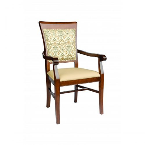 high back arm chair with upholstery and exposed fabric through wood back