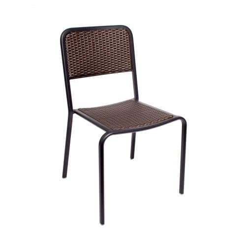 weave outdoor side chair with black frame