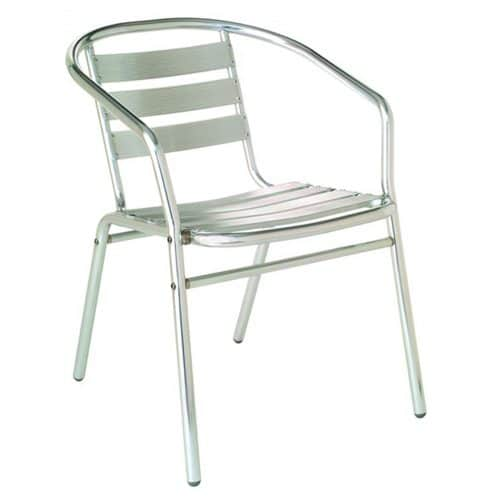sara arm chair with aluminum frame and slats