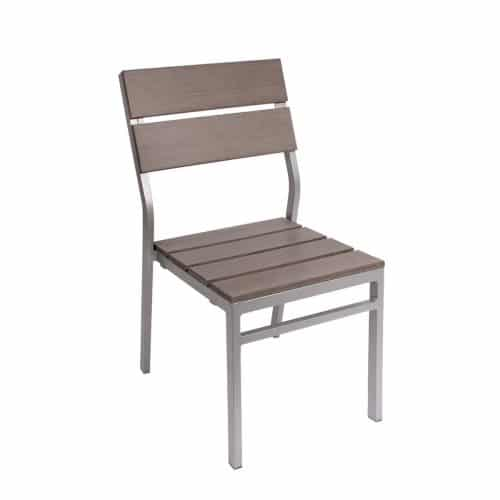 gray wood outdoor side chair