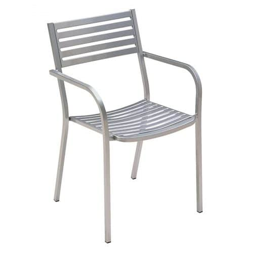 segno arm chair with steel slats