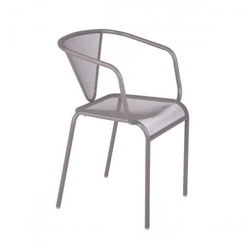silver mesh stackable outdoor armchair