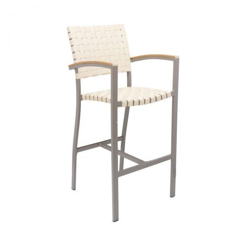 outdoor barstool with arms and woven seat and back