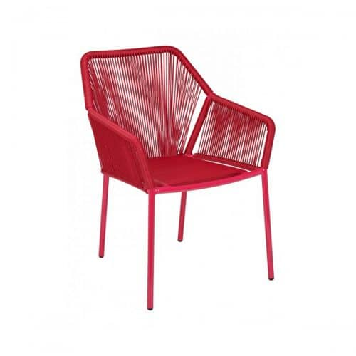 red wicker outdoor arm chair with red cushion seat
