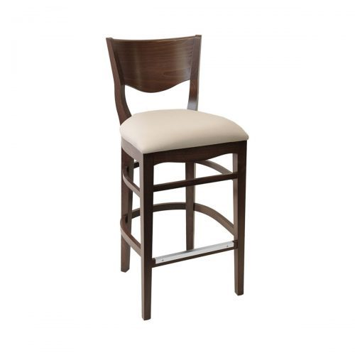 wood barstool with wood detailed back and upholstery
