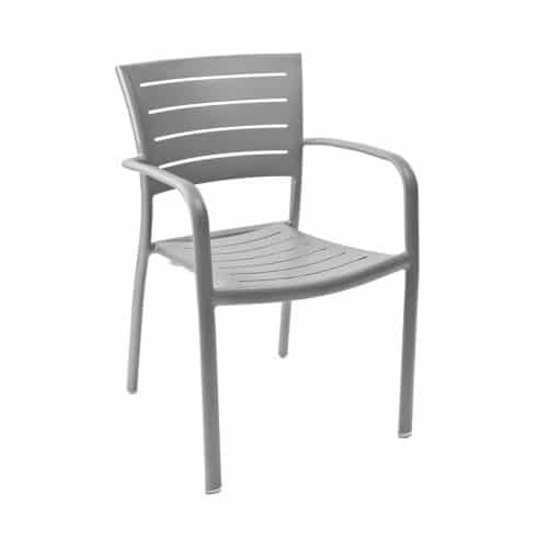 outdoor arm chair in warm gray