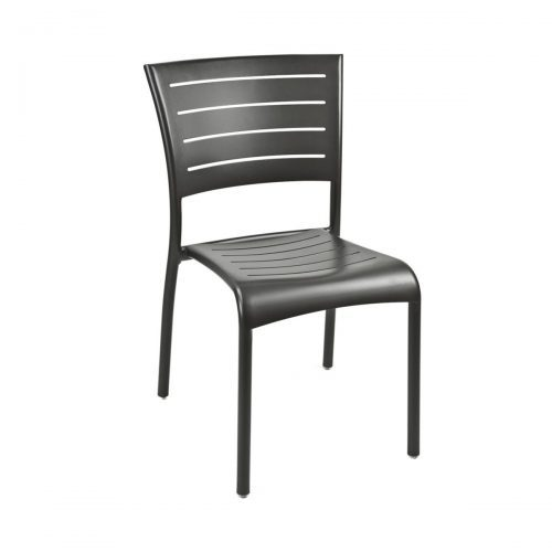 gray aluminum outdoor side chair