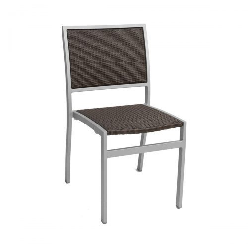 outdoor java weave side chair with silver frame