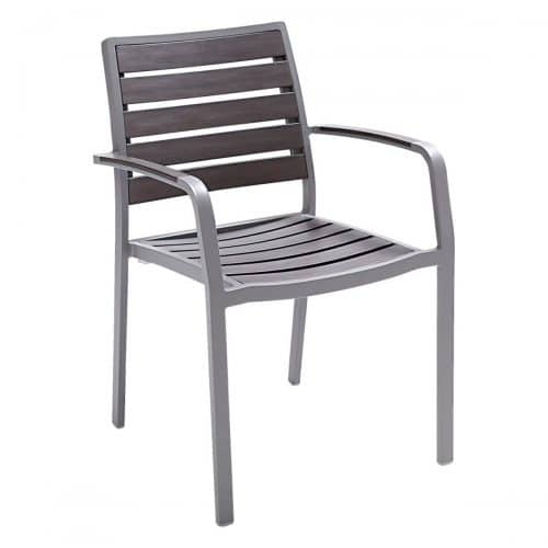 outdoor arm chair with silver frame and gray faux teak seat and back