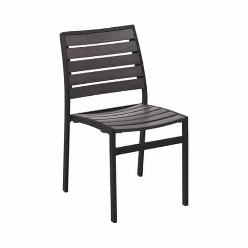 outdoor chair with gray faux teak seat and black frame