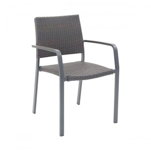 outdoor arm chair with anthracite frame and weave seat and back