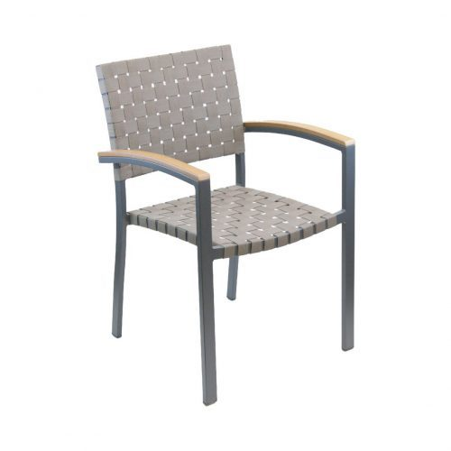 outdoor arm chair with woven seat and back