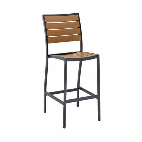 outdoor barstool with black frame and teak seat