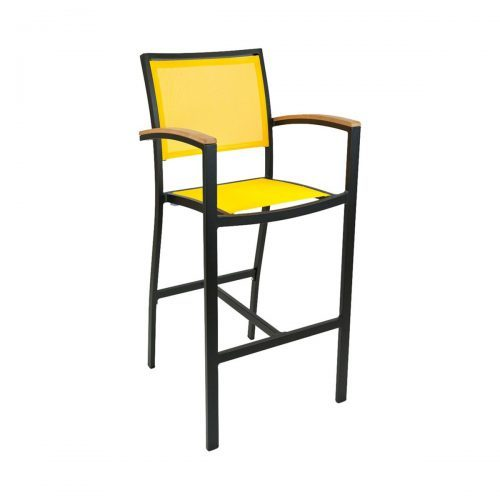 outdoor arm barstool with textile seat and back