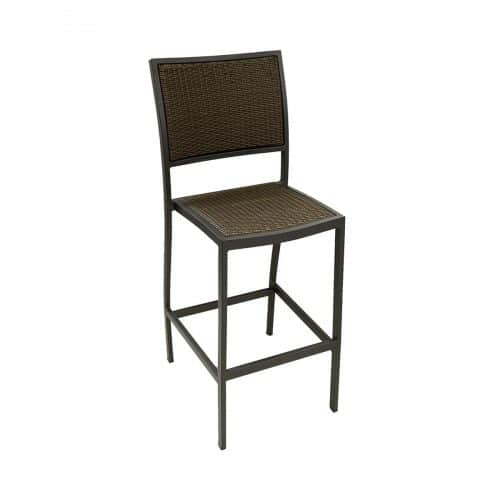 outdoor barstool with java weave seating and black frame