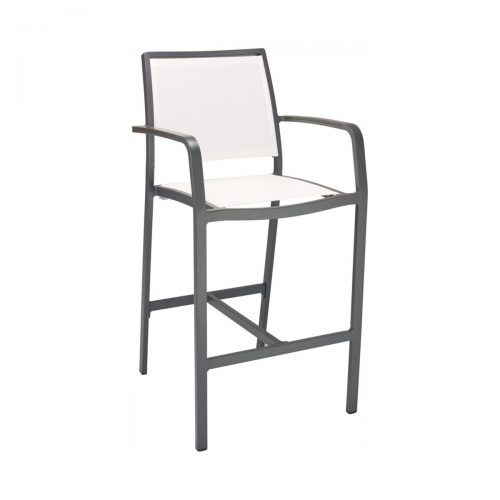 outdoor arm barstool with canvas seat and back