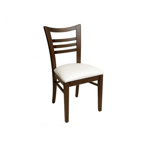 wood chair with upholstered seat and ladder back