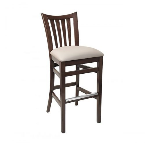 wood barstool with upholstered seat and vertical back bars