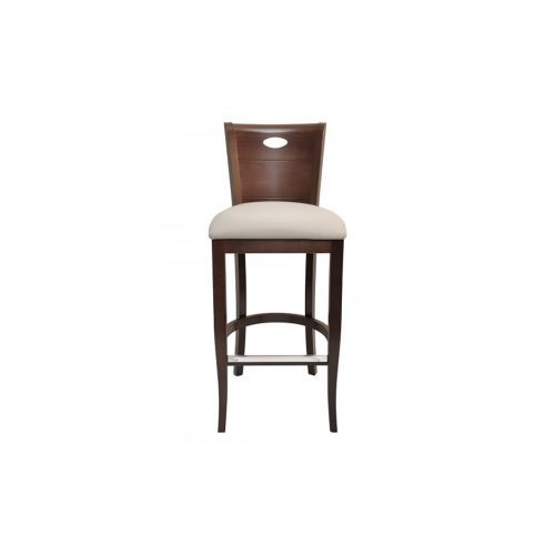 wood barstool with key hole in back and upholstery