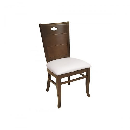 wood chair with wood back detail and upholstery