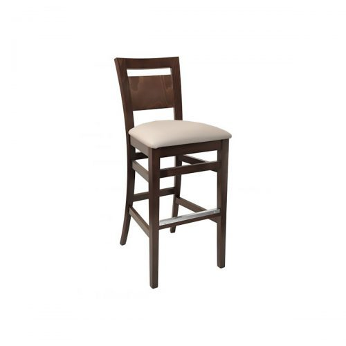 wood barstool with wood back and upholstery