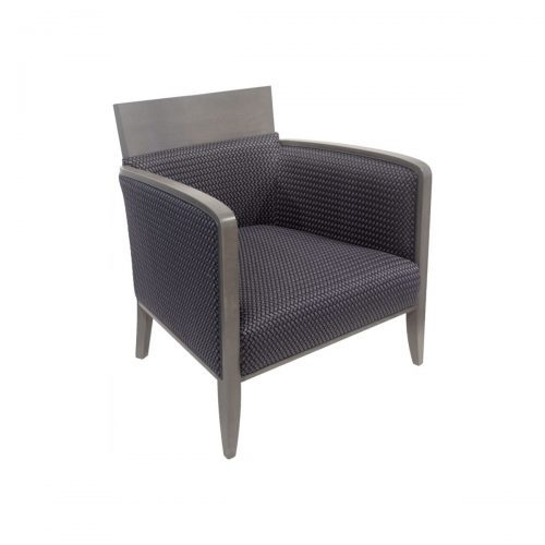 swan lounge with upholstered seat and back and gray frame